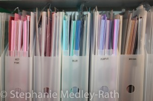 Paper folders organized by color